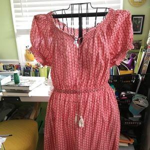 Coral short sleeve midi dress